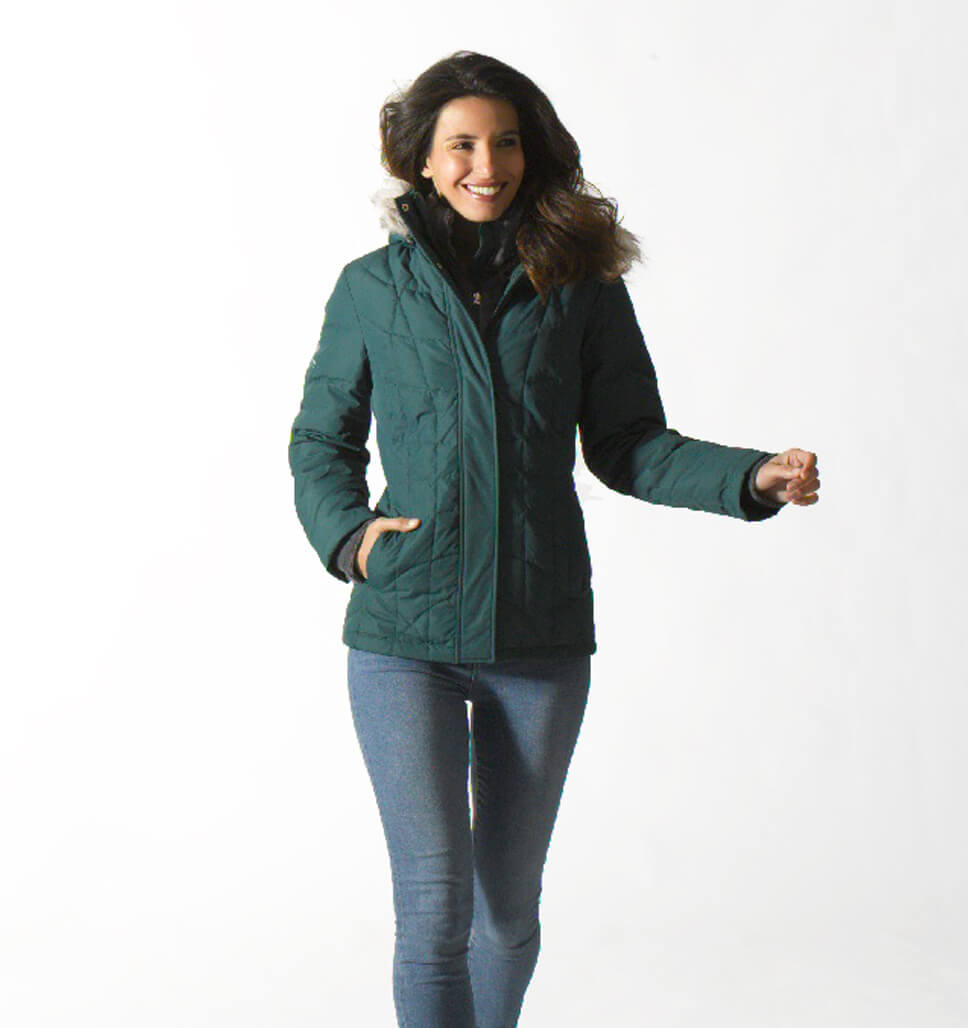 Free Country Women's Traction Down Jacket - Bottle Green - S