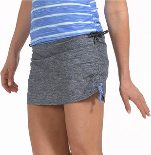 Free Country Heather Surf Side Adjustable Swim Skirt - Steel-Sea Mist - S