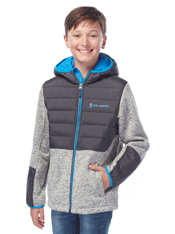 Boys' Adventurer Down Hybrid Fleece Jacket in Pumice