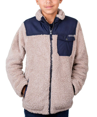 Free Country Boys' Alpine Sherpa Fleece Jacket - Latte - S