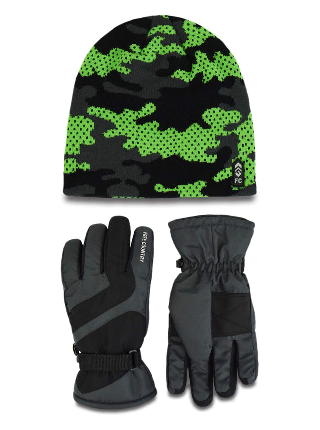 cfc8d8d6d5c Boys  Camo Knit Hat and Ski Glove Set – Free Country