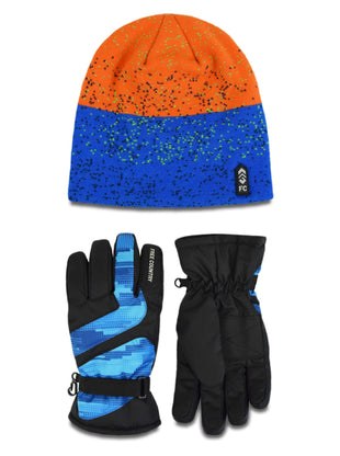 Free Country Boys' Jacquard Knit Hat and Ski Glove Set - Blue-Orange - 4-7