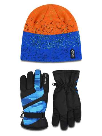 Free Country Boys' Jacquard Knit Hat and Ski Glove Set - Blue-Orange