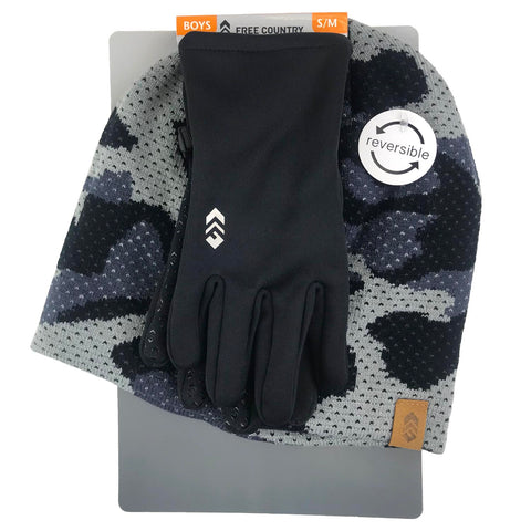 Free Country Boy's Knit Beanie & 2-Way Stretch Glove Set - Black - L/XL