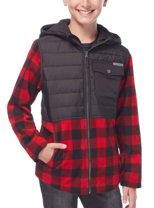 Free Country Boys' Pioneer Plaid Hybrid Fleece Jacket - Crimson Red - S