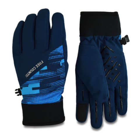 Free Country Boys' Printed Softshell Glove - Blue - S/M