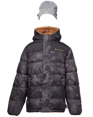 Free Country Boys' Protean Reversible Puffer Jacket with Hat - Black Camo - 8