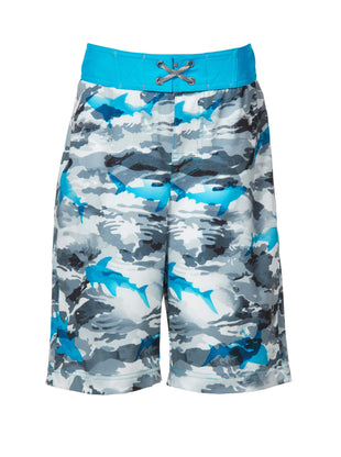 Free Country Boys' Shark Zone Board Shorts - Dove Grey - 14/16