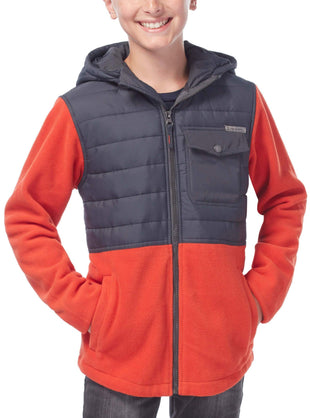 Free Country Boys' Tamarack Hybrid Fleece Jacket - Orange - S