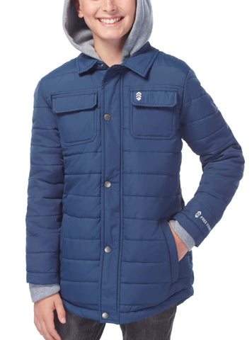 Free Country Boys' Upland Quilted Shirt Jacket - Denim - S