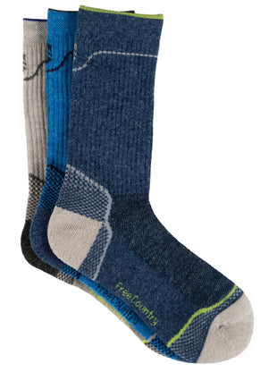 Free Country Boys' Wool-Blend Birdseye Wave Crew Socks - Navy - S/M