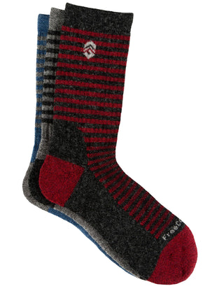 Free Country Boys' Wool-Blend Simple Stripes Crew Socks - Grey - S/M