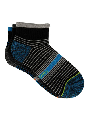 Free Country Boys' Wool-Blend Stripe Quarter Socks - Blue - S/M