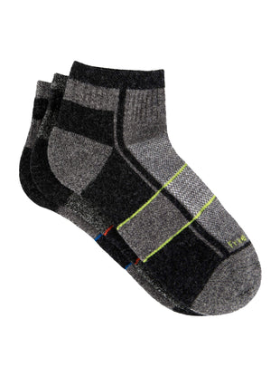 Free Country Boys' Wool-Blend Twisted Color Pop Quarter Socks - Grey - S/M