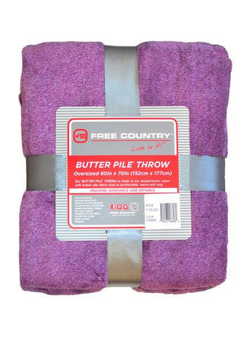 Free Country Butter Pile Fleece Oversize Throw Blanket - Plum -
