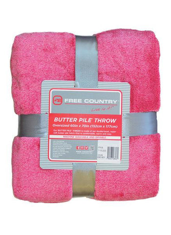 Free Country Butter Pile Fleece Oversize Throw Blanket - Rose -