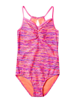 Free Country Girls' 1-PC Melange Keyhole Back Swimsuit - Shocking Pink - 7