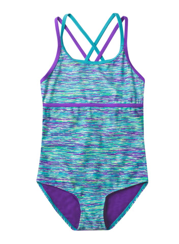 Free Country Girls' 1-PC Melange X-Back Swimsuit - Wisteria - 7