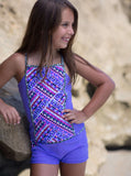 Girls' 2-PC Beach Blanket Square Neck Tankini and Skirt Swim Set