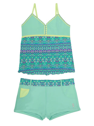Free Country Girls' 2-PC Calypso Beat Crochet Tankini and Short Swim Set - Mint - 7