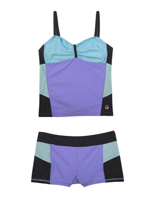 Free Country Girls' 2-PC. Color block  Bandeaux Tankini & Short Swimsuit Set - Violet - 7