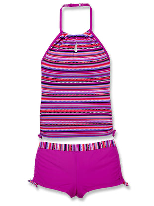Free Country Girls' 2-PC Crochet Striped Halter Tankini and Short Swim Set - Raspberry - 7