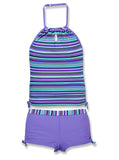 Girls' 2-PC Crochet Striped Halter Tankini and Short Swim Set