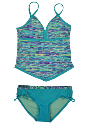 Free Country Girls' 2-PC Melange Tankini & Brief Swim Set - Aruba Blue - 7