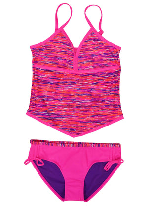 Free Country Girls' 2-PC Melange Tankini & Brief Swim Set - Shocking Pink - 7