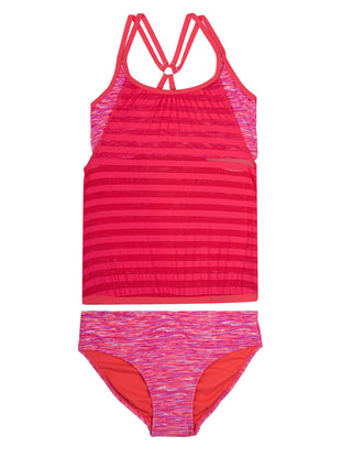 Free Country Girls' 2-PC Ocean Specks Mesh Blouson Tankini and Brief Swim Set - Coral Reef - 7
