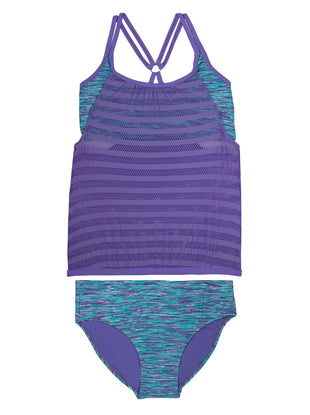 Free Country Girls' 2-PC Ocean Specks Mesh Blouson Tankini and Brief Swim Set - Ultra Violet - 7