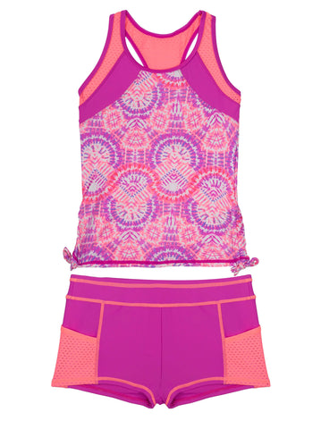 Free Country Girls' 2-PC Sunburst Side Adjustable Tankini and Short Swim Set - Raspberry - 7