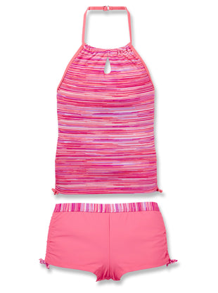 Free Country Girls' 2-PC Sunset Strip Halter Tankini and Short Swim Set - Pink Blush - 7
