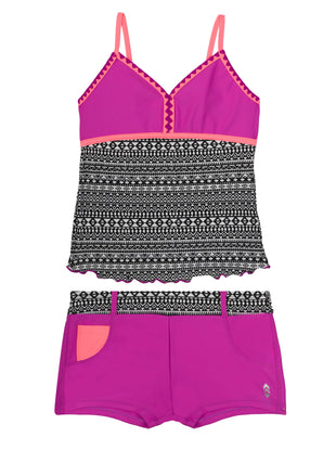 Free Country Girls' 2-PC Tulum Crochet Tankini and Short Swim Set - Raspberry - 7
