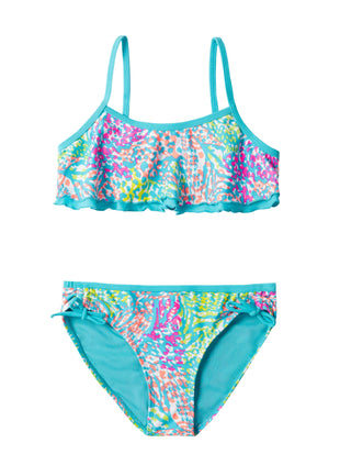 Free Country Girls' 2-PC Zeetah Flounce Bikini & Brief Swim Set - Aruba Blue - 7