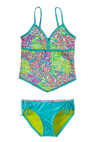 Free Country Girls' 2-PC Zeetah Tankini & Brief Swim Set - Aruba Blue - 7