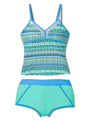 Free Country Girls' 2-Piece Beach Batik Tankini and Short Swim Set - Spearmint - 7