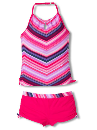 Free Country Girls' 2-Piece Cruisin' Chevron Halter Tankini and Short Swim Set - Ruby - 7
