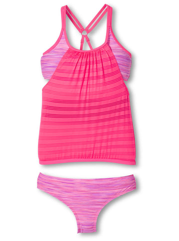 Free Country Girls' 2-Piece Layered Mesh Blouson Tankini and Brief Swim Set - Pink Blush - 7