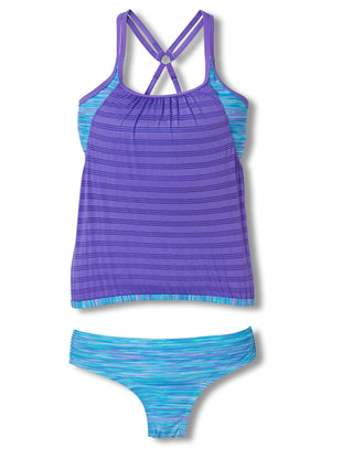 Free Country Girls' 2-Piece Layered Mesh Blouson Tankini and Brief Swim Set - Ultra Violet - 7
