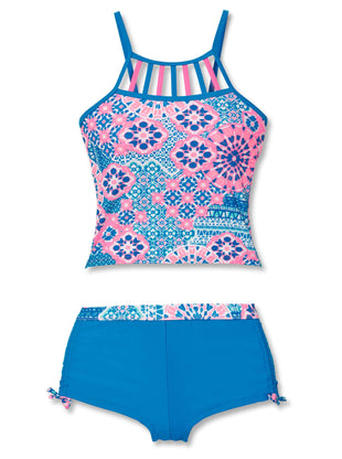 Free Country Girls' 2-Piece Santorini Tankini and Short Swim Set - Pink Blush - 7