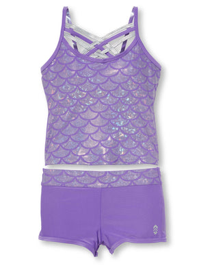 Free Country Girls' 2-Piece Shiny Seashell Criss Cross Tankini and Short Swim Set - Purple - 7