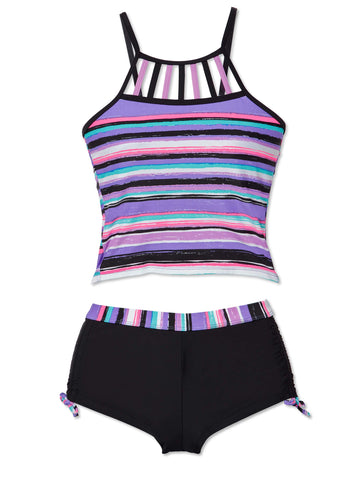 Free Country Girls' 2-Piece Shoreline Stripe Tankini and Short Swim Set - Ultra Violet - 7