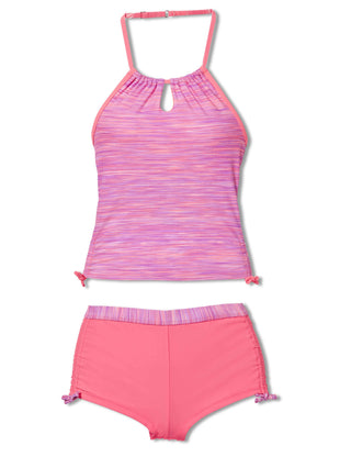 Free Country Girls' 2-Piece Space Dye Halter Tankini and Short Swim Set - Lilac - 7