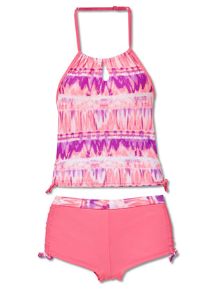 Free Country Girls' 2-Piece Tie Dye Surf Halter Tankini and Short Swim Set - Pink Blush - 7
