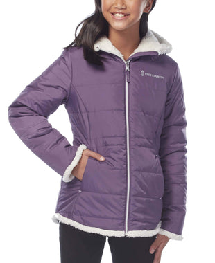 Free Country Girls' Adventuress Reversible Puffer Jacket - Dusty Grape - S
