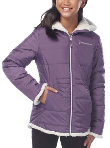 Free Country Little Girls' Adventuress Reversible Puffer Jacket - Dusty Grape - S