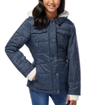 Free Country Little Girls' Boundless Puffer Shirt Jacket - Denim - S