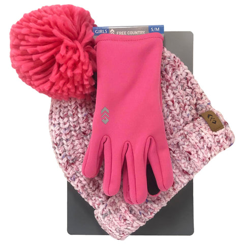 Free Country Girl's Chenille Beanine & 2-Way Stretch Glove Set - Pink - L/XL