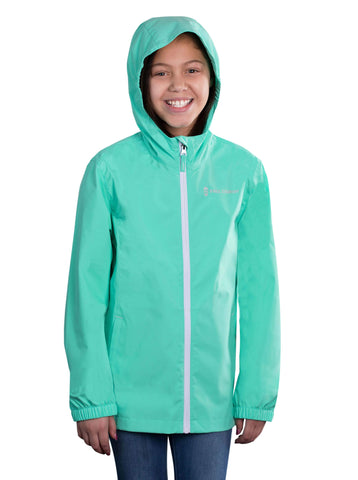 Free Country Girls' Drizzly Rain Jacket - Seafoam - XS